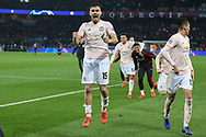Manchester United Midfielder Andreas Pereira celebrates after the final whistle during the Champions League Round of 16 2nd leg match between Paris Saint-Germain and Manchester United at Parc des Princes, Paris, France on 6 March 2019.