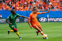 15-06-2019 FRA: Netherlands - Cameroon, Valenciennes<br /> FIFA Women's World Cup France group E match between Netherlands and Cameroon at Stade du Hainaut / Ajara Nchout #3 of Cameroon, Lieke Martens #11 of the Netherlands