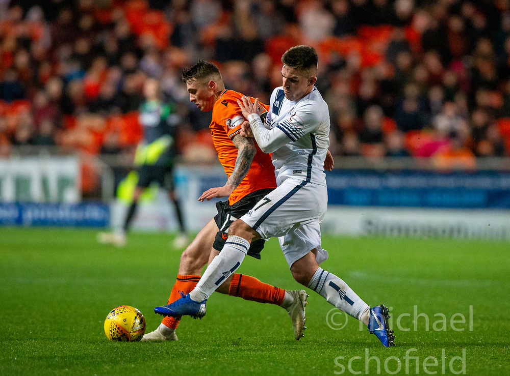 Dundee United's Jamie Robson and Alloa Athletic's Kevin O'Hara. Dundee United 2 v 1 Alloa Athletic, Scottish Championship game played 7/12/2019 at Dundee United's stadium Tannadice Park.