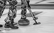 """Glasgow. SCOTLAND. Norway, Sweep away durin the  """"Round Robin"""" Game.  The Le Gruyère European Curling Championships. 2016 Venue, Braehead  Scotland<br /> Tuesday  22/11/2016<br /> <br /> [Mandatory Credit; Peter Spurrier/Intersport-images]"""
