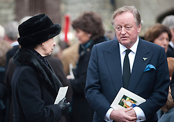 Andrew Parker Bowles and Princess Anne at the funeral of Rosemary Parker Bowles in Malmesbury, at the St Aldhelms Catholic Church.