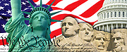 Patriotic collage consisting of statue of liberty, american flag, Mount Rushmore, US capital