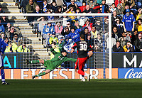 Photo: Mark Stephenson.<br />Leicester City v Queens Park Rangers. Coca Cola Championship. 17/03/2007. QPR's Marc Nygaard (No.30) scores their 2nd goal