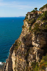 Sorrento, Italy, September 17 2017. The Hotel Mega Mare perched on the cliffs high above Meta near Sorrento, Italy. © Paul Davey