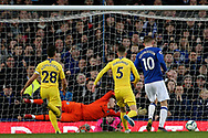 Everton midfielder Gylfi Sigurosson (10) scores with the rebound from the penalty save 2-0 during the Premier League match between Everton and Chelsea at Goodison Park, Liverpool, England on 17 March 2019.