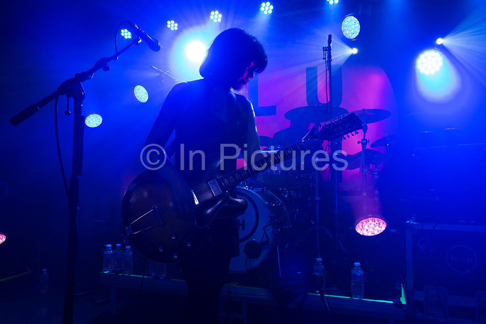 Lead singer and guitarist Miki Berenyi of seminal Indie Shoegaze band Lush as they play their first live concert in twenty years on 11th April 2016 at Oslo in Hackney, London, England, United Kingdom. This was an intimate warm up gig prior to their two upcoming shows at a far larger venue. Lush are an English alternative rock band, formed in 1987, disbanded in 1998, and reunited in 2015. They were one of the first bands to have been described with the shoegazing label. Later, their sound moved toward Britpop.