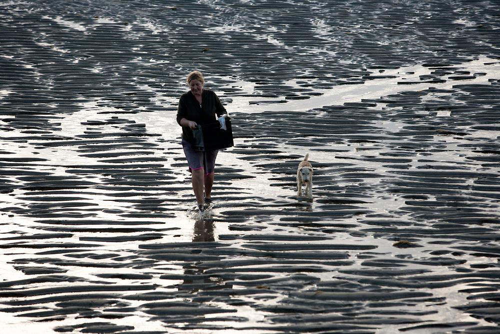 Women gathers seafood at Pakawau Beach, Golden Bay at low tide.