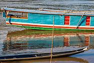 Boats on the Mekong River in Luang Prabang.