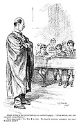 """Master (to boy he has noticed looking over another's paper). """"Jones Minor, you are cribbing from Brown."""" Jones (aggrieved). """"No, sir, I'm not. He hasn't written anything yet that I didn't know."""""""