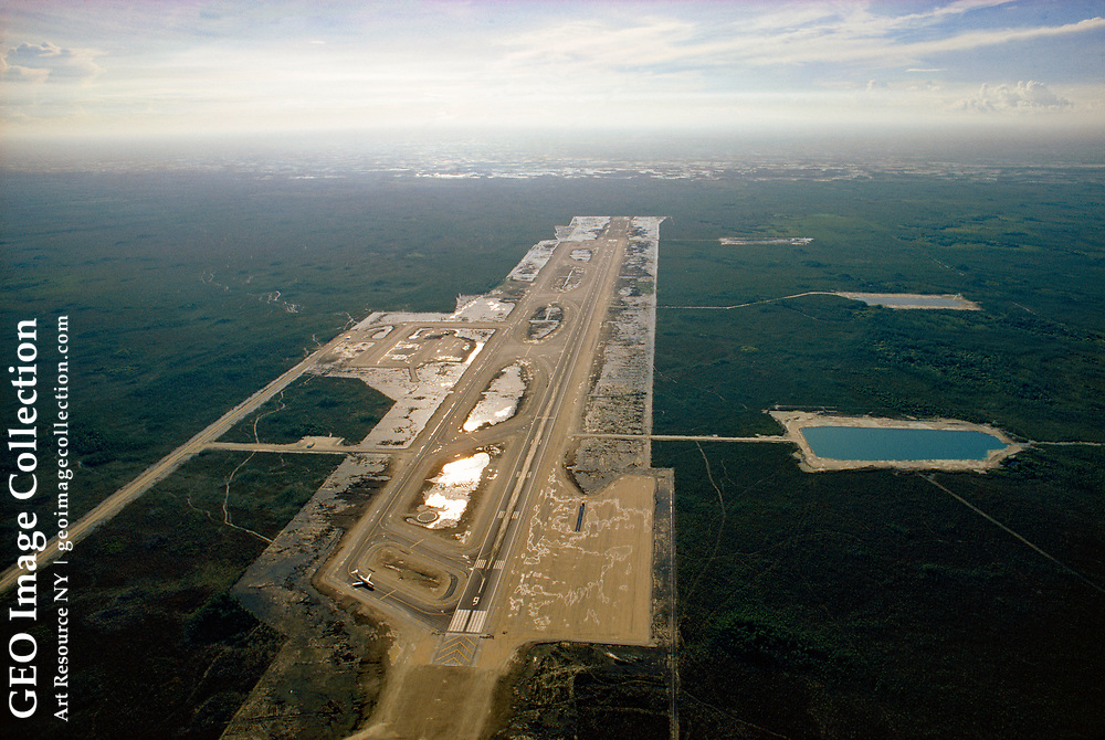 Construction on this new airport is halted by environmental concerns.