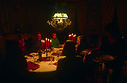 Evening dinner is served by candlelight in the Domaine de Rennebourg, a gite property in south-western rural France, on 15th October 1997, in Saint-Denis-du-Pin, Charente-Maritime, France.