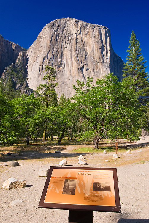 Interpretive sign under El Capitan, Yosemite National Park, California