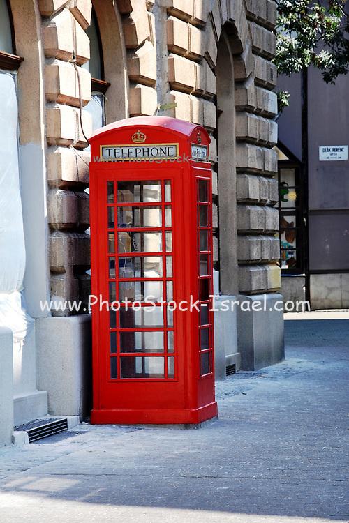 Eastern Europe, Hungary, Szeged, red phonebox