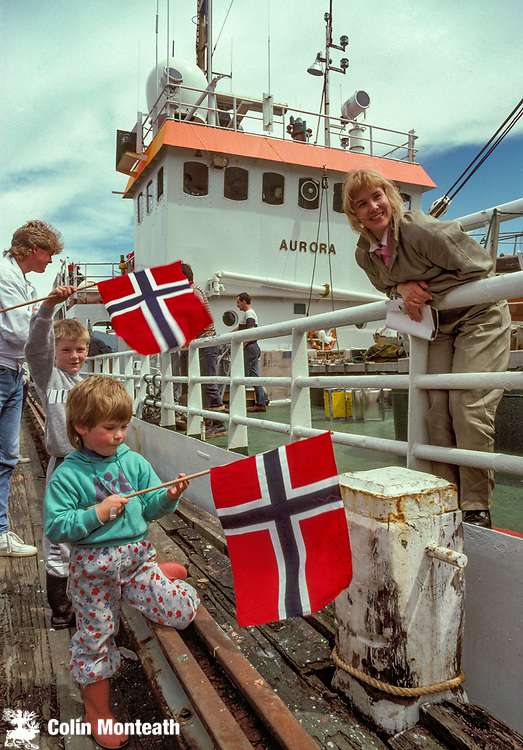 Norwegian glaciologist Monika Christensen, November 1986, departs Lyttelton, New Zealand on her ship Aurora, bound for Ross Ice Shelf , 90 degrees South expedition with huskies in an attempt to reach South Pole via Axel Heiberg glacier.