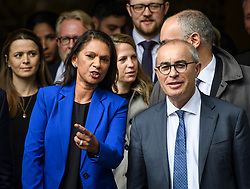 © Licensed to London News Pictures. 24/09/2019. London, UK. Businesswoman GINA MILLER (left) and her lawyer LORD DAVID PANNICK QC (right) are seen leaving The Supreme Court in London following a ruling on an appeal against a judicial review of Boris Johnson's suspension of Parliament. The case has been brought by remain campaigner Gina Miller, with support from former British Prime Minister John Major. Photo credit: Ben Cawthra/LNP