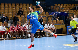 Gasper Marguc of Slovenia during handball match between National Teams of Slovenia and Poland in Qualification Phase 2 of Men's EHF Euro 2022 Qualifiers, on March 9, 2021 in Arena Zlatorog, Celje, Slovenia. Photo by Vid Ponikvar / Sportida