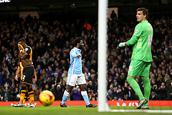 Wilfried Bony of Manchester City celebrates after scoring his goal to make it 1-0 - Mandatory byline: Matt McNulty/JMP - 01/12/2015 - Football - Etihad Stadium - Manchester, England - Manchester City v Hull City - Capital One Cup - Quarter-final