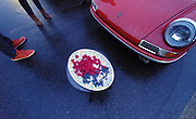 Image of an early Porsche 911 at the R Gruppe Treffen 2019, berries on plate at dusk, Monterey, California, America west coast by Randy Wells