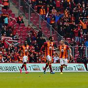 Galatasaray's Wesley Sneijder (2ndR) celebrate his goal with team mate during their Turkish Super League soccer match Galatasaray between Kardemir Karabukspor at the AliSamiYen Spor Kompleksi TT Arena at Seyrantepe in Istanbul Turkey on Sunday, 05 April 2015. Photo by Aykut AKICI/TURKPIX