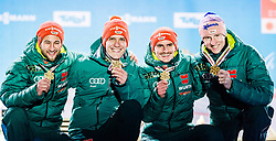 24.02.2019, Medal Plaza, Seefeld, AUT, FIS Weltmeisterschaften Ski Nordisch, Seefeld 2019, Skisprung, Herren, Teambewerb, Siegerehrung, im Bild Weltmeister und Goldmedaillengewinner Karl Geiger, Richard Freitag, Stephan Leyhe Markus Eisenbichler (GER) // World champion and Gold medalist Karl Geiger Richard Freitag Stephan Leyhe Markus Eisenbichler of Germany during the winner ceremony for the men's skijumping Team competition of FIS Nordic Ski World Championships 2019 at the Medal Plaza in Seefeld, Austria on 2019/02/24. EXPA Pictures © 2019, PhotoCredit: EXPA/ Stefan Adelsberger