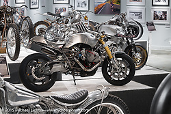 """Jeff Wright's BMW R9T custom in Michael Lichter's annual Motorcycles as Art Show """"Naked Truth"""" at the Buffalo Chip during the 75th Annual Sturgis Black Hills Motorcycle Rally.  SD, USA.  August 6, 2015.  Photography ©2015 Michael Lichter."""