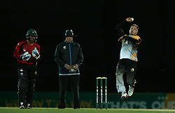 Stiaan Van Zyl of Boland sends down a delivery during the Africa T20 cup pool D match between Boland and Eastern Province held at the Boland Park cricket ground in Paarl on the 24th September 2016.<br /> <br /> Photo by: Shaun Roy/ RealTime Images