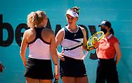 Katerina Siniakova and Barbora Krejcikova of the Czech Republic in action during the doubles semi-final of the Mutua Madrid Open 2021, Masters 1000 tennis tournament on May 6, 2021 at La Caja Magica in Madrid, Spain - Photo Oscar J Barroso / Spain ProSportsImages / DPPI / ProSportsImages / DPPI