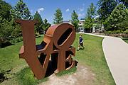 Robert Indiana sculpture, LOVE, at Crystal Bridges Museum of American on Sunday, June 9, 2013, in Bentonville, Ark.