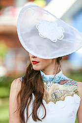 Durban. 070718. Fashion Theme for the 2018 Vodacom Durban July. - It Is Time - Every year a new theme is released to get the creative juices of the visitors and fashion desighners flowing. Picture Leon Lestrade. African News Agency/ANA. Zandre Lee van Zyl dressed by Siphi.