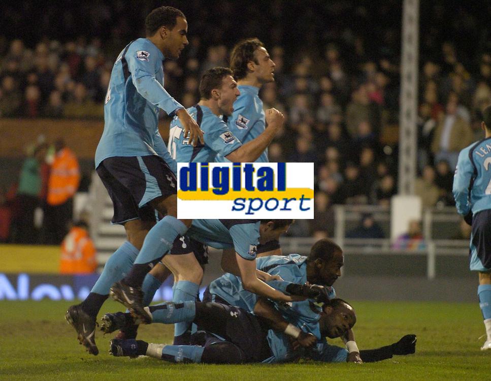 Photo: Olly Greenwood.<br />Fulham v Tottenham Hotspur. The Barclays Premiership. 20/01/2007. Tottenham's Pascal Chimbonda celebrates scoring