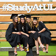 """23.08.2016        <br /> Over 300 students graduated from the Faculty of Arts Humanities and Social Sciences at the University of Limerick today. <br /> <br /> Attending the conferring ceremony were Bachelor of Arts in Law and Accounting graduates, Gillian Johnston, Ardnacrusha Co. Clare, Jaimie Doyle, Athlone, Co. West Meath, Aine Collopy, Kilmallock Co. Limerick and Patricia Carroll, Killarney Co. Kerry. Picture: Alan Place.<br /> <br /> <br /> <br /> <br /> UL Graduates Employability remains consistently high as they are 14% more likely to be employed after Graduation than any other Irish University Graduate<br /> Each year, the Careers Service collects information about the 'First Destinations' of UL graduates. During the April/May period following graduation, we survey those who have completed full-time undergraduate and postgraduate courses for details on their current status. This current survey was conducted nine months after graduation and focuses on the employment and further study patterns of the graduates of 2015. A total of 2,933 graduates were surveyed and a response rate of 87% was achieved. <br /> As the University of Limerick commences four days of conferring ceremonies which will see 2568 students graduate, including 50 PhD graduates, UL President, Professor Don Barry highlighted the continued demand for UL graduates by employers; """"Traditionally UL's Graduate Employment figures trend well above the national average. Despite the challenging environment, UL's graduate employment rate for 2015 primary degree-holders is now 14% higher than the HEA's most recently-available national average figure which is 58% for 2014"""". The survey of UL's 2015 graduates showed that 92% are either employed or pursuing further study."""" Picture: Alan Place"""