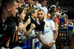 Karim Benzema of Real Madrid celebrates after they won 3-1 during the UEFA Champions League final football match between Liverpool and Real Madrid and became Champions League  2018 Champions third time in a row at the Olympic Stadium in Kiev, Ukraine on May 26, 2018.Photo by Sandi Fiser / Sportida