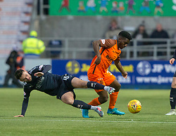 Falkirk's Reghan Tumility and Dundee United's Brandon Mason. Falkirk 6 v 1 Dundee United, Scottish Championship game played 6/1/2018 played at The Falkirk Stadium.