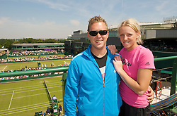 LONDON, ENGLAND - Thursday, June 25, 2009: Patricia Mayr (AUT) and her boyfriend Mike pictured overlooking the outside courts on top of the media centre at Wimbledon during day four of the Wimbledon Lawn Tennis Championships at the All England Lawn Tennis and Croquet Club. (Pic by David Rawcliffe/Propaganda)