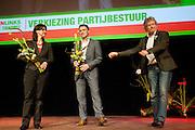 Henk Nijhof geeft het voorzitterschap over aan Heleen Weening. In Utrecht vindt het 30e partijcongres plaats van GroenLinks. Een van de heikele punten is de missie naar Kunduz. Ook wordt een nieuwe partijvoorzitter gekozen.<br /> <br /> Henk Nijhof is giving the stage to Heleen Weening (left) who is elected as the new leader of GroenLinks, in favor of Arno Uijlenhoet .The Dutch party GroenLinks (Green party) holds its 30th convention in Utrecht. One of the big issues is the mission to Kunduz. They will also elect the new chairman of the party.