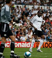 Photo: Steve Bond.<br />Derby County v RCD Espanyol. Pre Season Friendly. 04/08/2007. Claude Davis (R) plays the ball back to keeper Stephen Bywater (L)