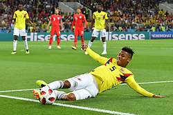MOSCOW, July 3, 2018  Wilmar Barrios (front) of Colombia controls the ball during the 2018 FIFA World Cup round of 16 match between England and Colombia in Moscow, Russia, July 3, 2018. (Credit Image: © Lui Siu Wai/Xinhua via ZUMA Wire)