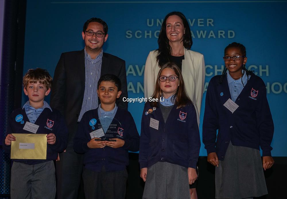 London, UK. 31th October, 2016. Unilever - school award to St Saviour's Church of England Primary recieves award of Team London Awards at City Hall, London,UK. Photo by See Li