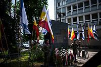 Bialystok, 27.06.2021. Uroczystosc w 80. rocznice spalenia Wielkiej Synagogi . W czerwcu 1941 niemieccy zolnierze spedzili i spalili zywcem okolo 2 tys. Zydow N/z pomnik upamietniajacy ofiary tej zbrodni fot Michal Kosc / AGENCJA WSCHOD