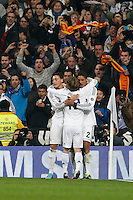 30.01.2013 SPAIN -  Copa del Rey 12/13 Matchday 1/4  match played between Real Madrid CF vs  F.C. Barcelona (1-1) at Santiago Bernabeu stadium. The picture show  Raphael Varane (French defender of Real Madrid) celebrating his team's goal