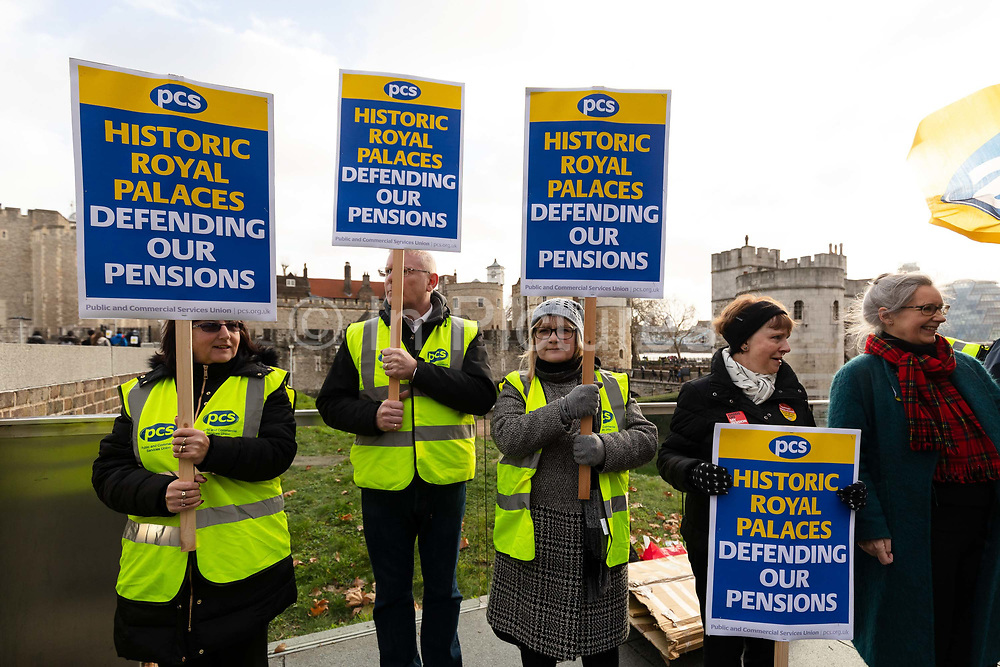 Union members from the Public and Commercial Services Union PCS stage a protest and picket line on December, 21 2018 at the Tower of London in London, England where some staff, including Beefeaters have walked out and are striking over changes to their defined benefits pension scheme. Historic Royal Palaces manages six of the UK's royal palaces, including the Tower of London, Kensington Palace and Hampton Court Palace where strike action is also taking place and a further three walkouts are scheduled for next year.
