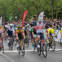 Segafredo's Edward Theuns of Belgium (front) celebrates his victory in the final leg of the Tour de Hongrie bicycle race held in downtown Budapest, Hungary on May 16, 2021. ATTILA VOLGYI