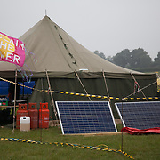 Solar panels not yet installed and calor gas. Reclaim the Power camp is set up in a field near Balcombe. The site is squatted but so far nor the owner nor police has made any moves to stop the camp from setting up. It is organised by the environmental group No Dash for Gas and the movement is protesting against the company Cuadrilla's fracking testing near Balcombe and have come to Balcombe to lend its support to the local protests against the drilling for gas.