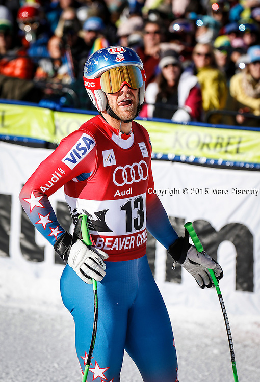 SHOT 12/4/15 11:17:17 AM - American skier Steven Nyman reacts to his run in the finish area at the 2015 Audi Birds of Prey Downhill at Beaver Creek Ski Resort in Beaver Creek, Co. Birds of Prey is the only men's Audi FIS Ski World Cup stop in the United States. Nyman finished 15th with a time of 1:43.90. (Photo by Marc Piscotty / © 2015)