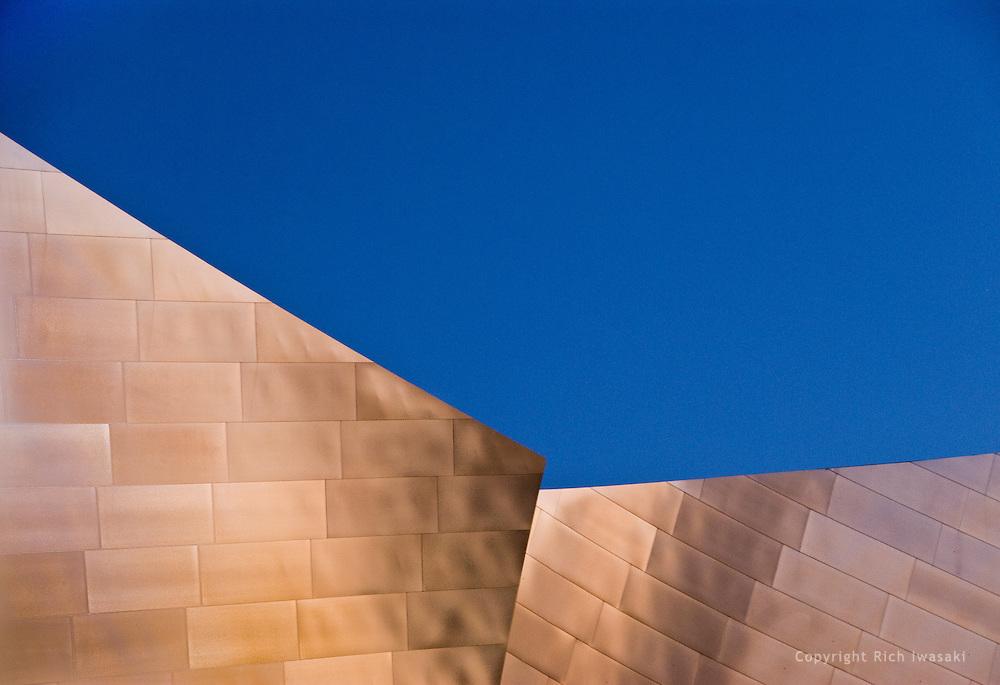 Architectural detail of Walt Disney Concert Hall building exterior, Los Angeles, California