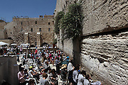 Israel, Jerusalem, Old City, Jewish women pray at the Wailing Wall in the women's section