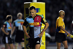 Danny Care of Harlequins looks dejected - Photo mandatory by-line: Patrick Khachfe/JMP - Mobile: 07966 386802 12/09/2014 - SPORT - RUGBY UNION - London - Twickenham Stoop - Harlequins v Saracens - Aviva Premiership