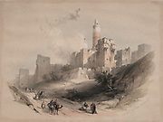 Citadel of Jerusalem, without the Walls, Tower of David Color lithograph by David Roberts (1796-1864). An engraving reprint by Louis Haghe was published in a the book 'The Holy Land, Syria, Idumea, Arabia, Egypt and Nubia. in 1855 by D. Appleton & Co., 346 & 348 Broadway in New York.