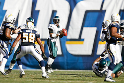 Philadelphia Eagles quarterback Michael Vick #7 looks for a receiver during the NFL game between the Philadelphia Eagles and the San Diego Chargers on November 15th 2009. At Qualcomm Stadium in San Diego, California. (Photo By Brian Garfinkel)
