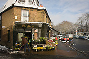 Employee of Bartleys the florist business in Dulwich Village, south London, brushes melting pavement snow.